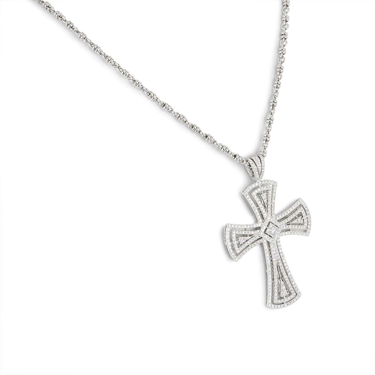 White Gold Diamond Cross Pendant 3.00ct